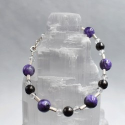 Bracelet Shungite + Cristal de Roche + Améthyste + Argent