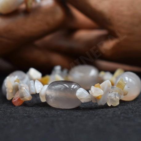 Bracelet Agate chips et pierres roulées