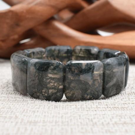 Bracelet Agate mousse square 20mm