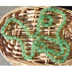 Collier Aventurine verte, sautoir, perles rondes