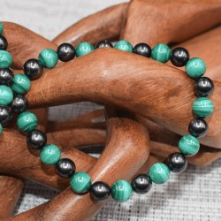 Bracelet Shungite et Malachite KPM02 Homme