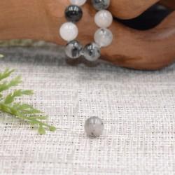 Cristal de roche avec inclusion de Tourmaline noire naturelle perles 8mm prix dégressifs