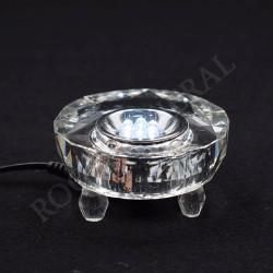 Support en cristal avec Led blanches, électrique