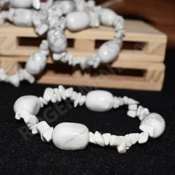Bracelet Howlite chips et pierres roulées