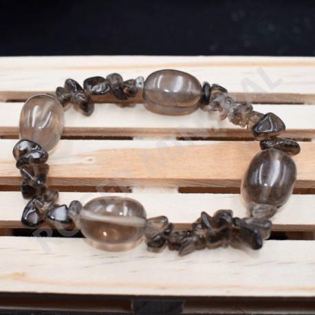 Bracelet Quartz fumé chips et pierres roulées