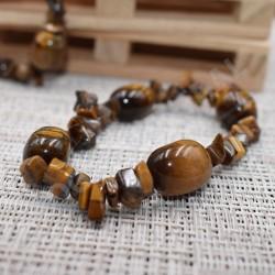 Bracelet Oeil de tigre chips et pierres roulées