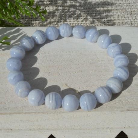 Bracelet Calcédoine perle ronde 10mm