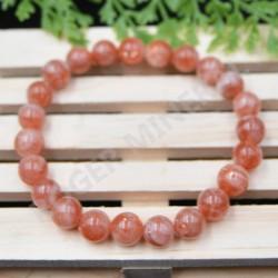 Bracelet Pierre de soleil perles rondes 8 mm