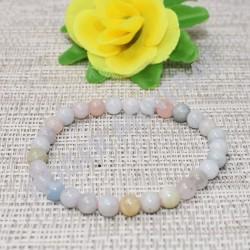 Bracelet Aigue-marine perles rondes 10mm
