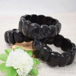 Bracelet Obsidienne cabochon faceté