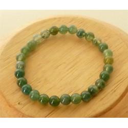 Bracelet Agate mousse perles rondes 6mm