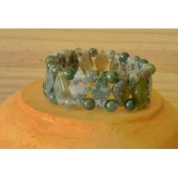 Bracelet Agate Mousse losange