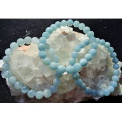 Bracelet Aigue-Marine Perles rondes 8mm
