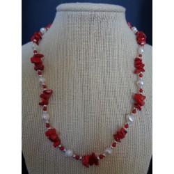 Corail rouge teinté perles collier PEP10