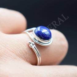 Bague réglable en Lapis Lazuli et argent
