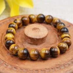 Bracelet Oeil de Tigre perles rondes 10mm