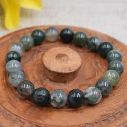 Bracelet Agate mousse perles rondes 10mm