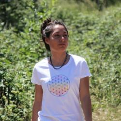 Tee-Shirt blanc Femme Fleur de Vie multicolor