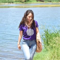 Tee-Shirt violet Femme Fleur de Vie