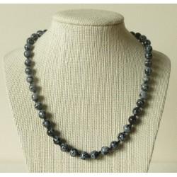 Collier Obsidienne mouchetée Perle ronde 6mm