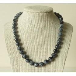 Collier Obsidienne mouchetée Perle ronde 10mm