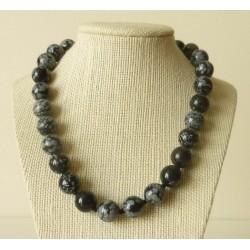 Collier Obsidienne mouchetée Perle ronde 14mm