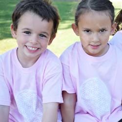 Tee-shirt Enfant - rose Fleur de Vie blanche
