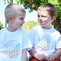 Tee-shirt fille/garçon blanc Fleur de vie Multicolore