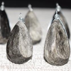 Obsidienne argentée pendentif Yin-Yang