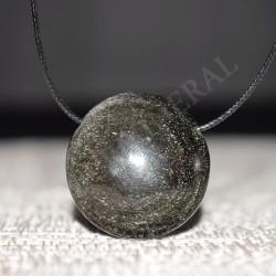 Obsidienne argentée pendentif rond