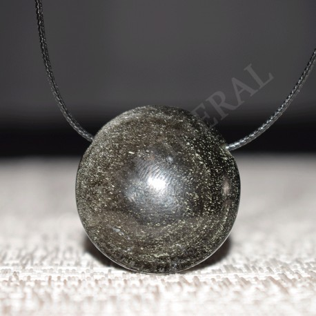 Obsidienne argentée pendentif