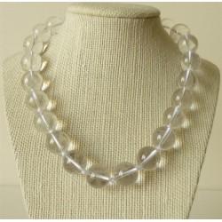 Collier Cristal de Roche Perles rondes 14mm