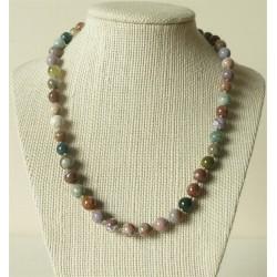 Collier Jaspe Mokaïte Perles rondes 6mm