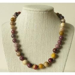 Collier Jaspe Mokaïte Perles rondes 10mm