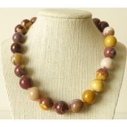 Collier Jaspe Mokaïte Perles rondes 14mm