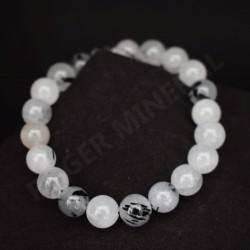 Bracelet quartz avec inclusions de tourmaline noire perles rondes 8mm