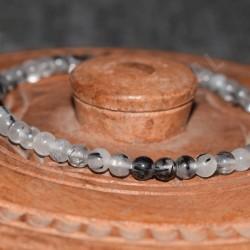 Bracelet quartz avec inclusions de tourmaline noire perles rondes 4mm