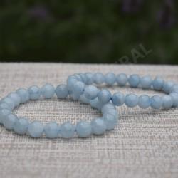 Bracelet Aigue-Marine Perles rondes 9mm