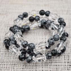 Bracelet Cristal de roche et Obsidienne mouchetée