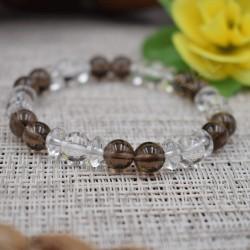 Bracelet Cristal de roche et Quartz fumé