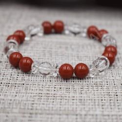 Bracelet Cristal de roche et Jaspe rouge