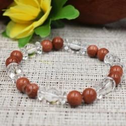 Bracelet Cristal de roche et pierre de soleil (synt.)