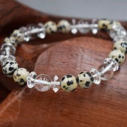 Bracelet Cristal de roche et Jaspe dalmatien
