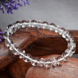 Bracelet Cristal de roche perles rondes et plates