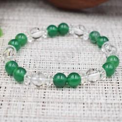 Bracelet Cristal de roche et Quartz teinté verd