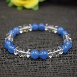 Bracelet Cristal de roche et Quartz teinté bleu