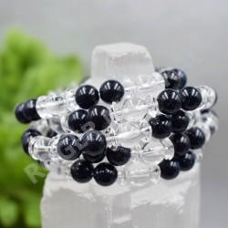 Bracelet Cristal de roche et Pierre de nuit