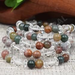 Bracelet Cristal de roche et Jaspe polychrome