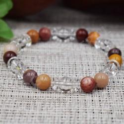 Bracelet Cristal de roche et Jaspe Mokaïte
