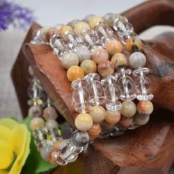 Bracelet Cristal de roche et Jaspe Jaune